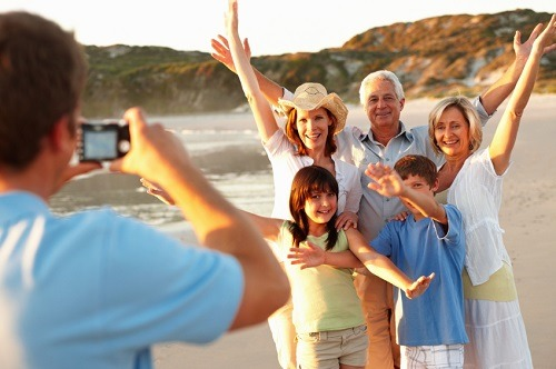 Man Taking A Photo Of Whole Family